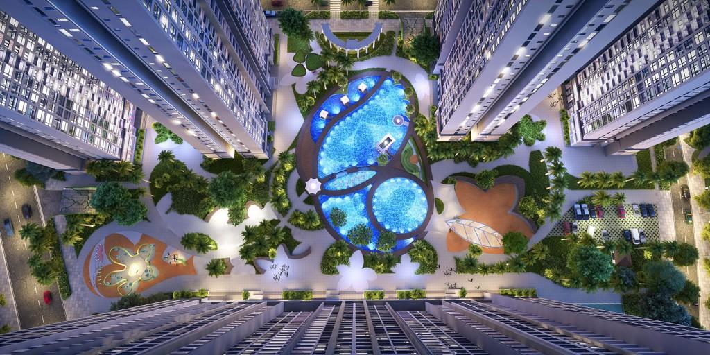 Dự án Vinhomes Gardenia Mỹ Đình nhìn từ trên xuống hồ điều hòa